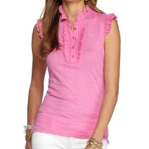 Lilly Pulitzer Witherbee Ruffled Polo Top XS Pink